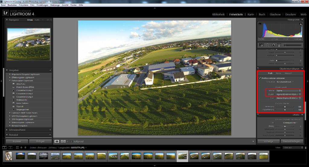 Fischaugen-Korrektur goPro Hero 3 mit Lightroom 4